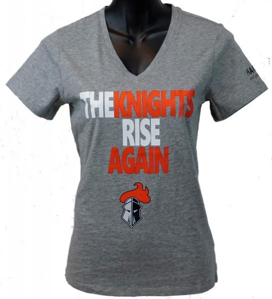 """Franken Knights Damen T-Shirt """"THE KNIGHTS RISE AGAIN"""" grau"""