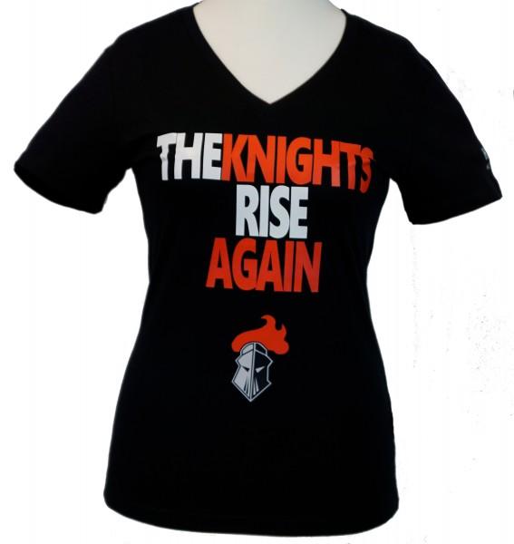 "Franken Knights Damen T-Shirt ""THE KNIGHTS RISE AGAIN"" schwarz"
